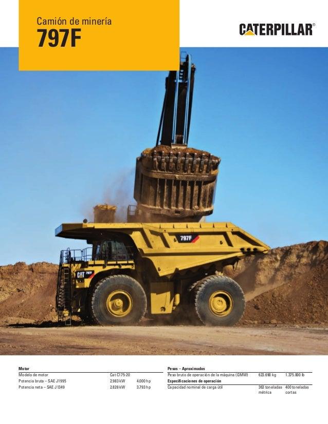 Camión de minería 797F Motor Modelo de motor Cat C175-20 Potencia bruta – SAE J1995 2.983 kW 4.000 hp Potencia neta – SAE ...