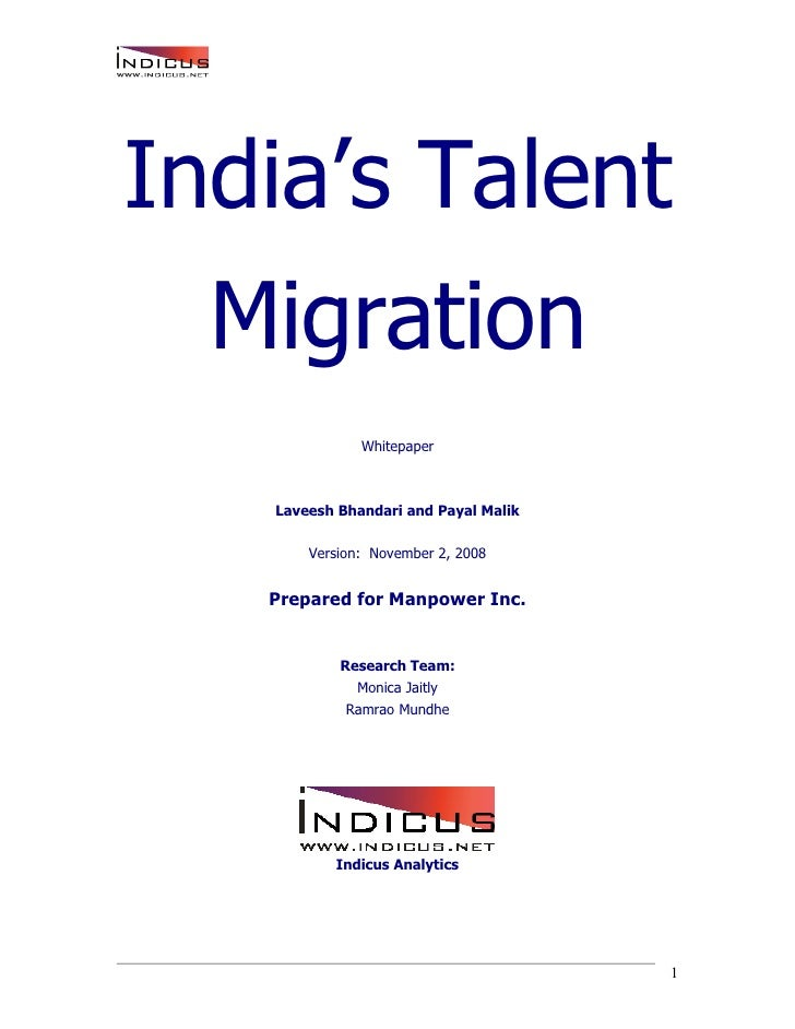 India's Talent Migration - An Indicus-Manpower Whitepaper