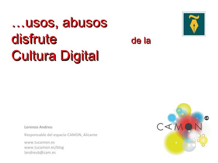 Usos, abusos y disfrute de la cultura digital