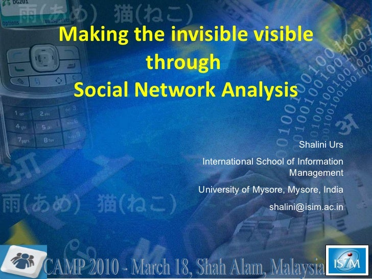Making the invisible visible through  Social Network Analysis Shalini Urs International School of Information Management U...