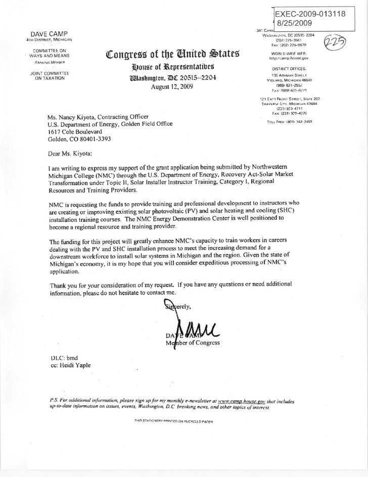 Rep. Dave Camp clean energy request