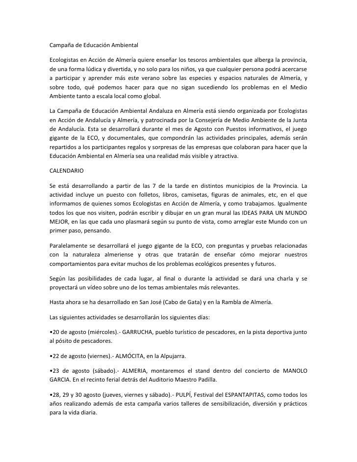 Campaña de Educación AmbientalEcologistas en Acción de Almería quiere enseñar los tesoros ambientales que alberga la provi...