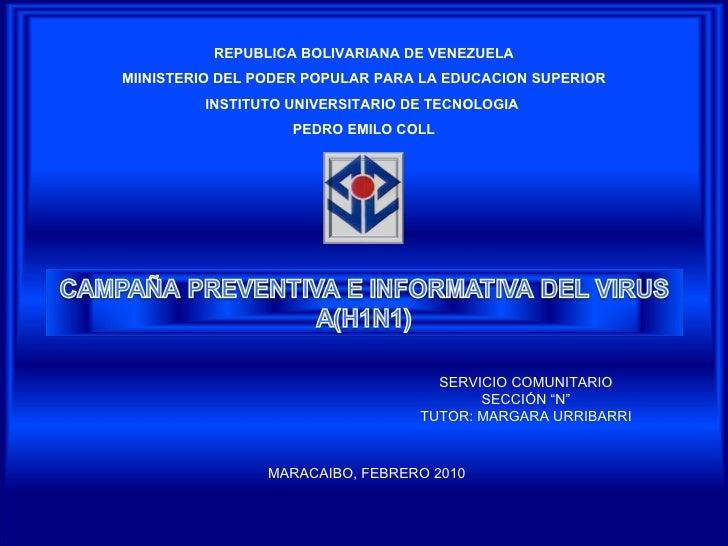 REPUBLICA BOLIVARIANA DE VENEZUELA MIINISTERIO DEL PODER POPULAR PARA LA EDUCACION SUPERIOR INSTITUTO UNIVERSITARIO DE TEC...