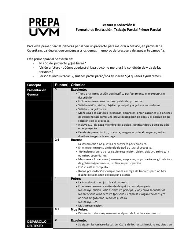 Lectura y redacción II Formato de Evaluación Trabajo Parcial Primer Parcial  Para este primer parcial deberás pensar en un...