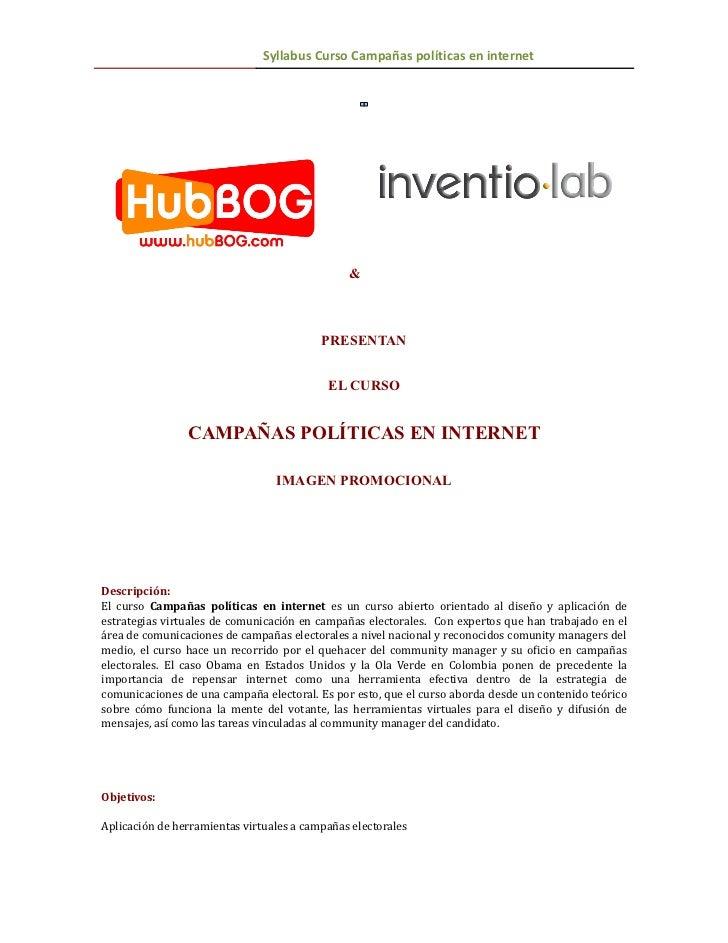 TIPO    Syllabus Curso Campañas políticas en internet                                               &                     ...