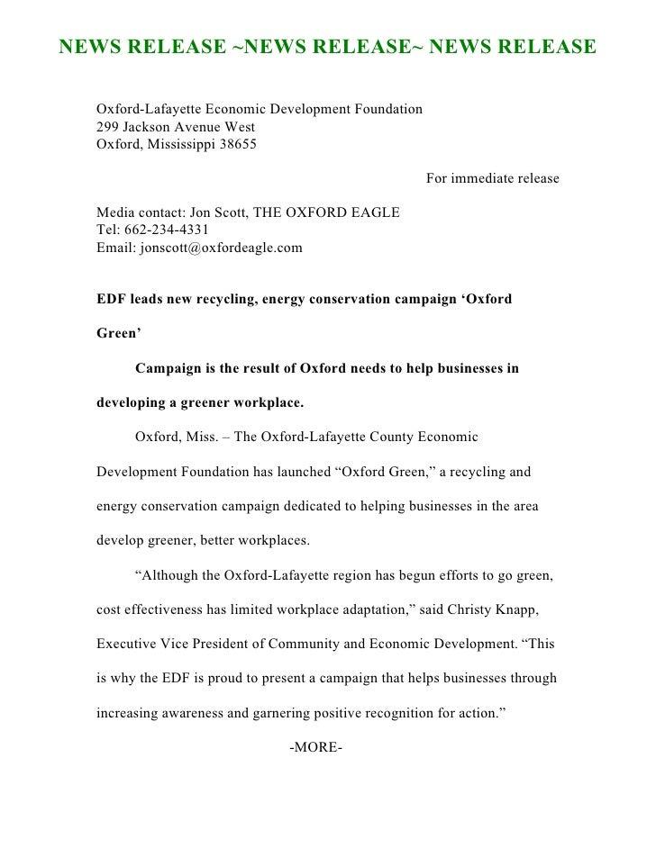 NEWS RELEASE ~NEWS RELEASE~ NEWS RELEASE    Oxford-Lafayette Economic Development Foundation   299 Jackson Avenue West   O...