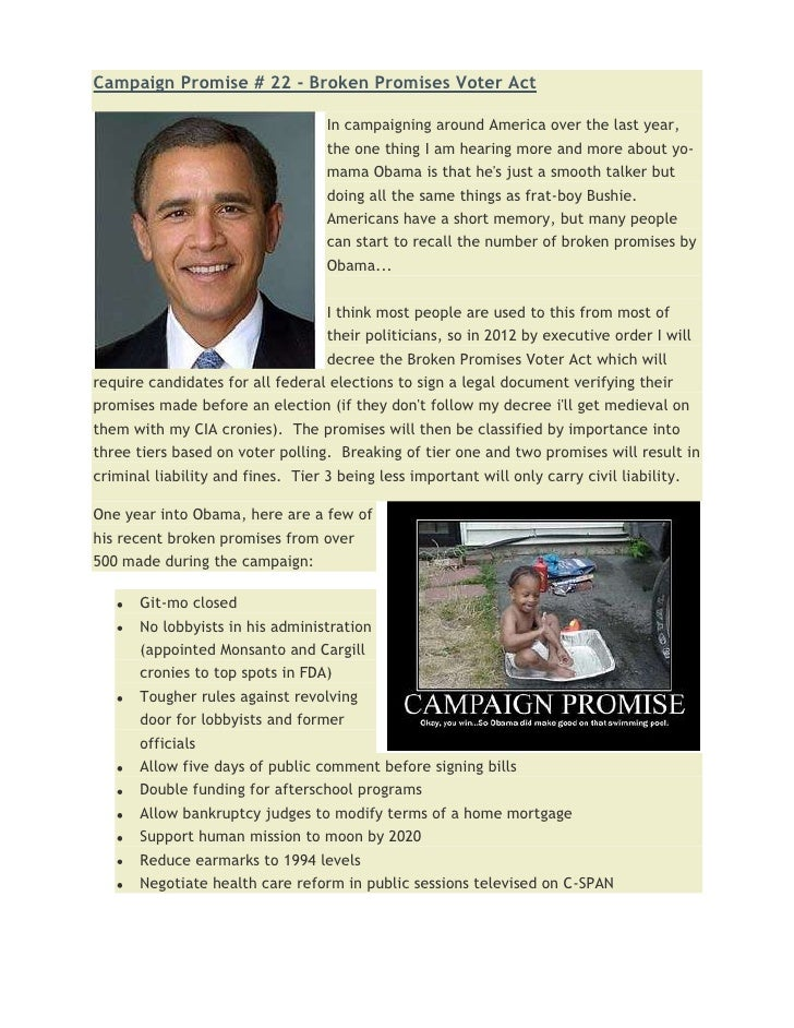 Campaign promise # 22   broken promises voter act
