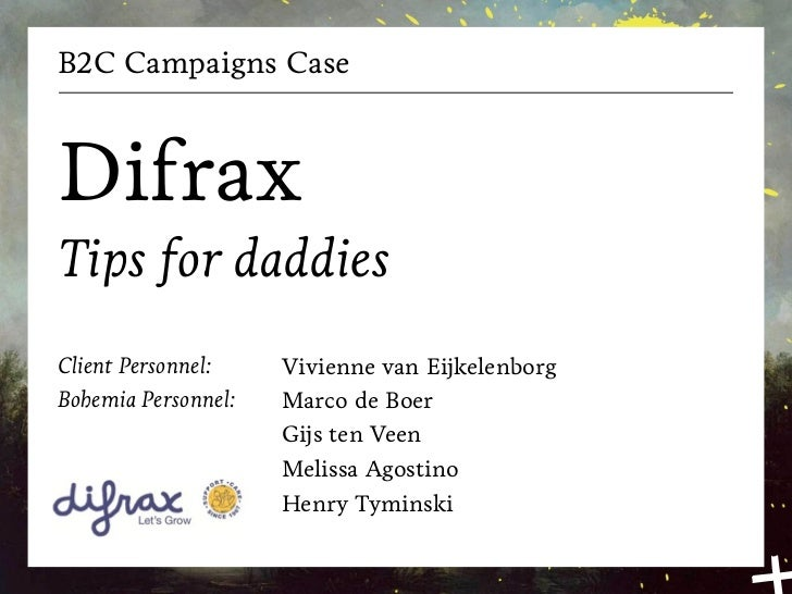 B2C Campaigns CaseDifraxTips for daddiesClient Personnel:    Vivienne van EijkelenborgBohemia Personnel:   Marco de Boer  ...