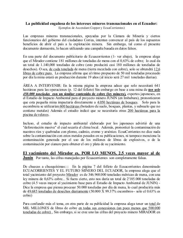 La publicidad engañosa de los intereses mineros transnacionales en el Ecuador:                        Ejemplos de Ascendan...