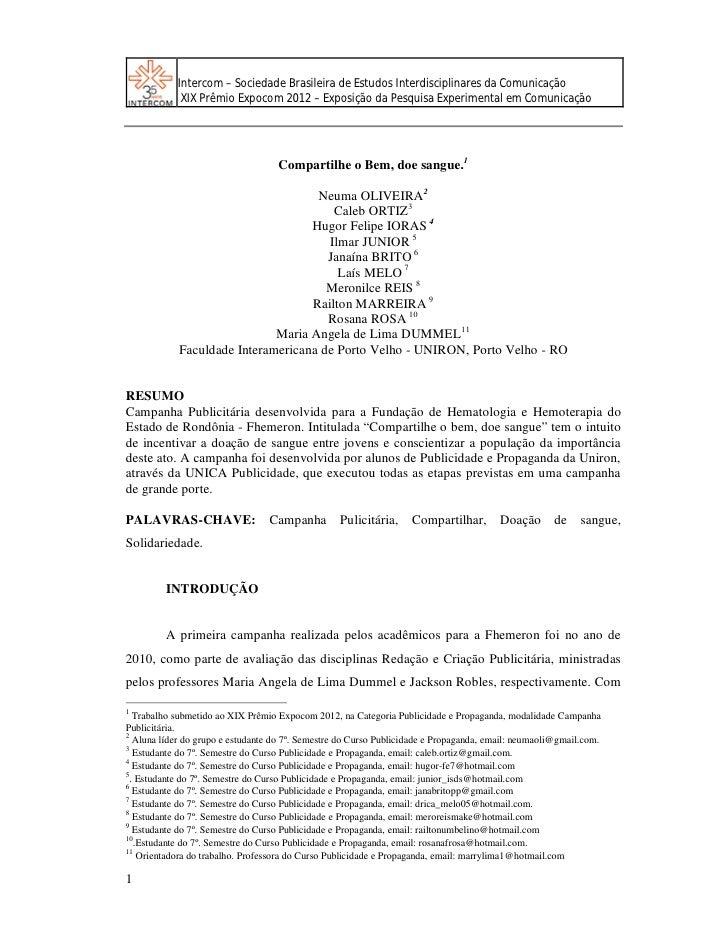 Intercom – Sociedade Brasileira de Estudos Interdisciplinares da Comunicação             XIX Prêmio Expocom 2012 – Exposiç...