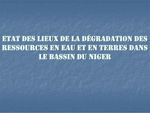 ETAT DES LIEUX DE LA DÉGRADATION DES RESSOURCES EN EAU ET EN TERRES DANS LE BASSIN DU NIGER