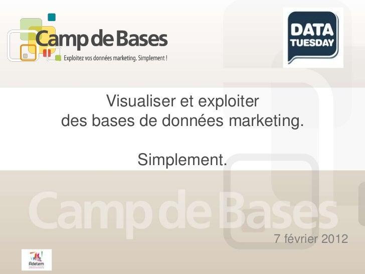 Visualiser et exploiterdes bases de données marketing.         Simplement.                           7 février 2012