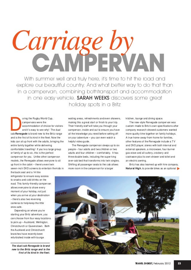 23Travel Digest, February 2012 CAMPERVAN Carriage by With summer well and truly here, it's time to hit the road and explor...