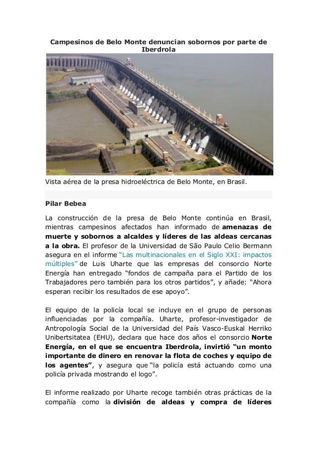 Campesinos de Belo Monte denuncian sobornos por parte de Iberdrola Vista aérea de la presa hidroeléctrica de Belo Monte, e...