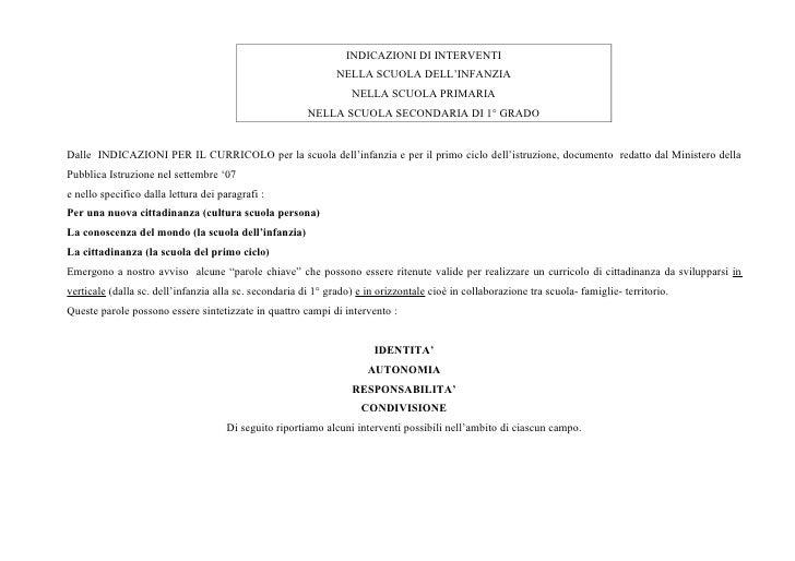 INDICAZIONI DI INTERVENTI                                                               NELLA SCUOLA DELL'INFANZIA        ...