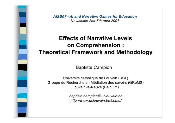 AISB07 - AI and Narrative Games for Education              Newcastle 2nd-5th april 2007          Effects of Narrative Leve...