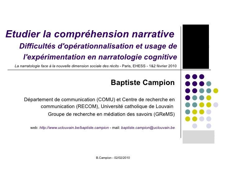 Etudier la compréhension narrative  Difficultés d'opérationnalisation et usage de l'expérimentation en narratologie cognit...