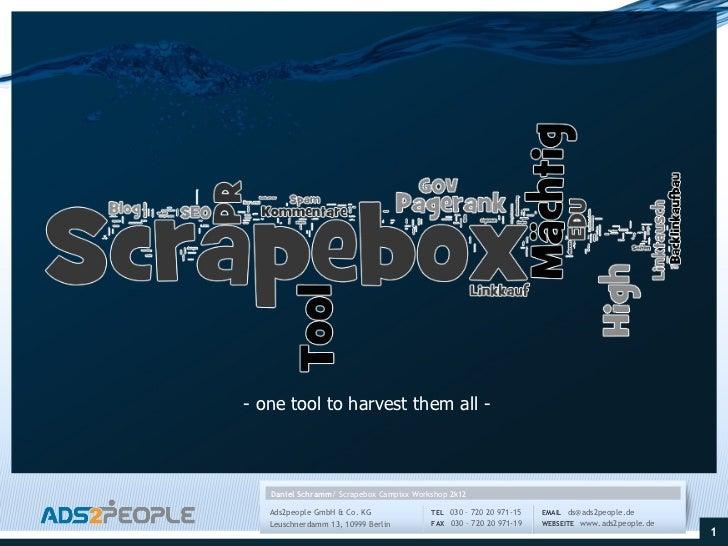 SEO Campixx 2012 Scrapebox Workshop