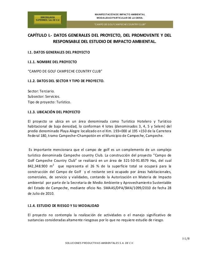 """MANIFESTACIÓN DE IMPACTO AMBIENTAL MODALIDAD PARTICULAR DE LA OBRA: """"CAMPO DE GOLF CAMPECHE COUNTRY CLUB"""" SOLUCIONES PRODU..."""