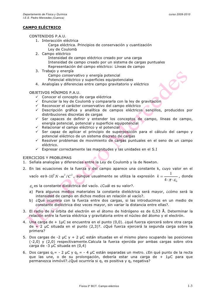 Departamento de Física y Química                                                     curso 2009-2010 I.E.S. Pedro Mercedes...