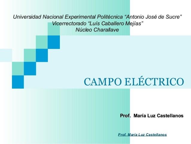 """CAMPO ELÉCTRICOProf. María Luz CastellanosProf. María Luz CastellanosUniversidad Nacional Experimental Politécnica """"Antoni..."""