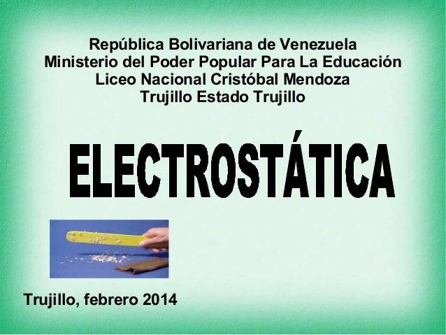 República Bolivariana de Venezuela Ministerio del Poder Popular Para La Educación Liceo Nacional Cristóbal Mendoza Trujill...