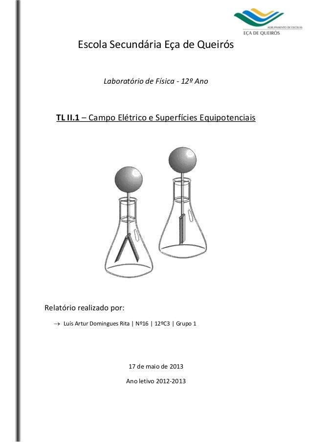 Escola Secundária Eça de Queirós Laboratório de Física - 12º Ano  TL II.1 – Campo Elétrico e Superfícies Equipotenciais  R...