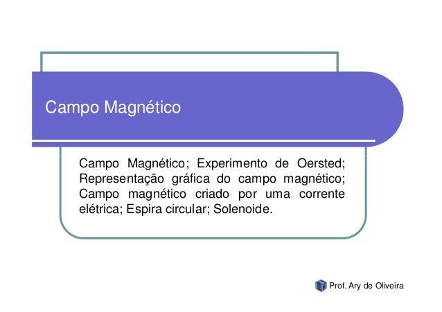Campo Magnético   Campo Magnético; Experimento de Oersted;   Representação gráfica do campo magnético;   Campo magnético c...