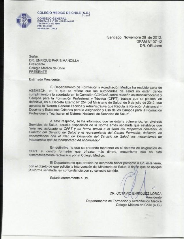 Campos clínicos   carta colegio médico como respuesta a carta de aseme ch