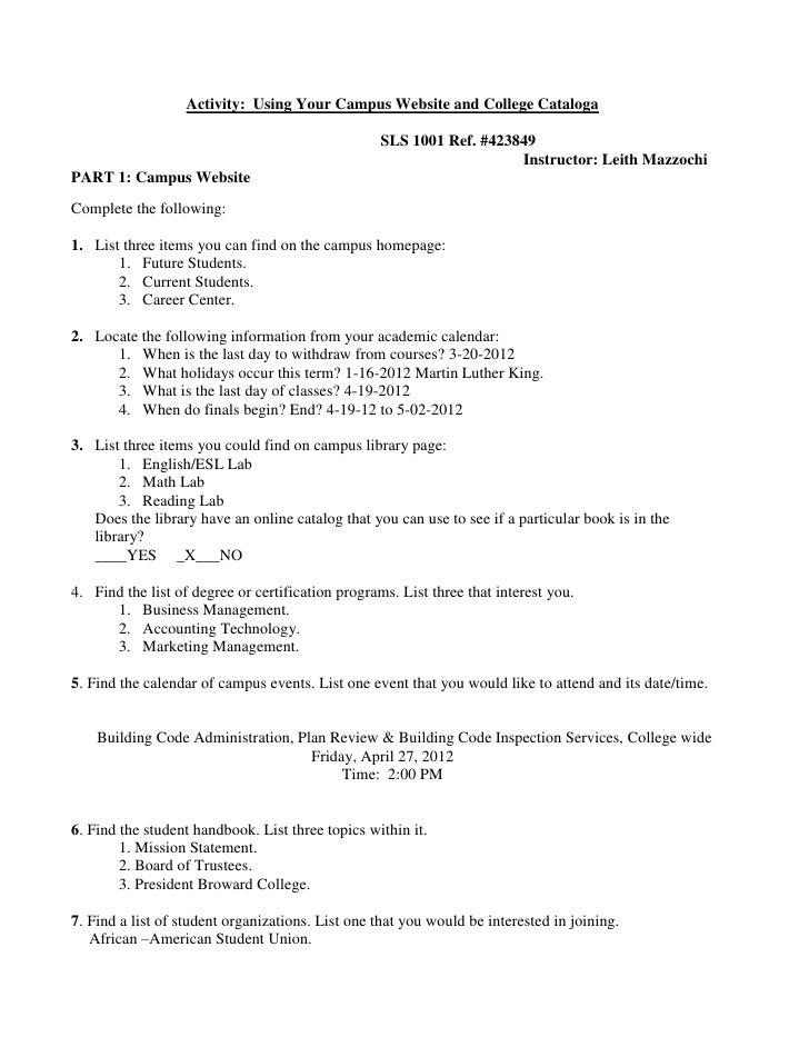 Activity: Using Your Campus Website and College Cataloga                                                   SLS 1001 Ref. #...