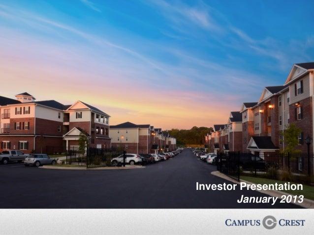 Investor Presentation            January 20130