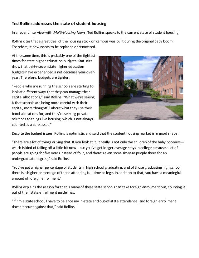 Ted Rollins addresses the state of student housingIn a recent interview with Multi-Housing News, Ted Rollins speaks to the...