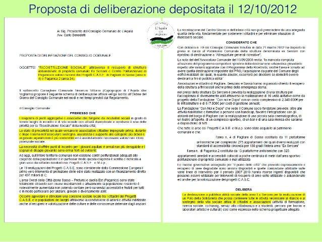 Proposta di deliberazione depositata il 12/10/2012