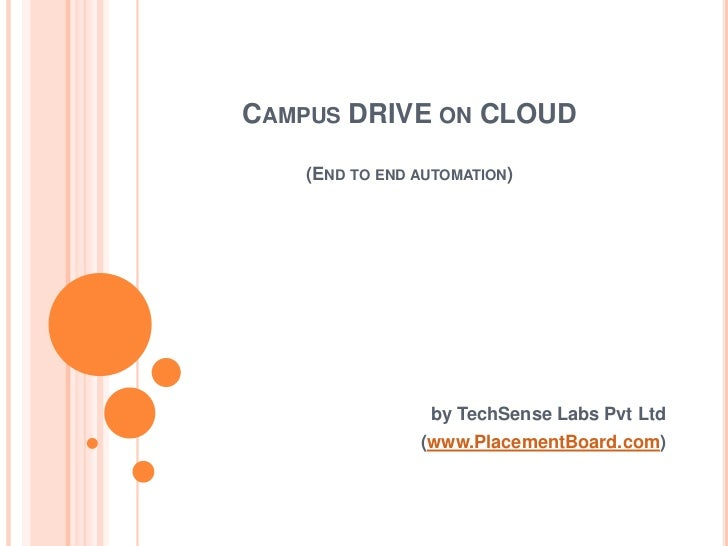 CAMPUS DRIVE ON CLOUD   (END TO END AUTOMATION)                by TechSense Labs Pvt Ltd               (www.PlacementBoard...