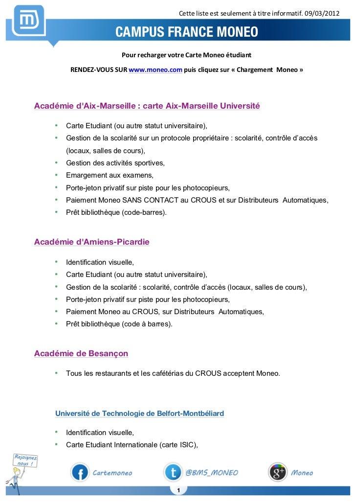 Cette liste est seulement à titre informatif. 09/03/2012                                  CAMPUS FRANCE MON...
