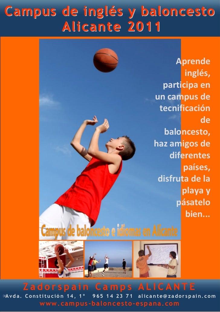 Campus de inglés y baloncesto       Alicante 2011                                                      Aprende            ...