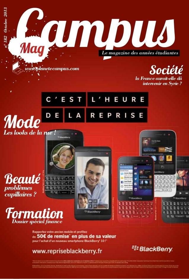 n° 182 Octobre 2013  Mag www.planetecampus.com  Le magazine des années étudiantes  Société  la France aurait-elle dû inter...