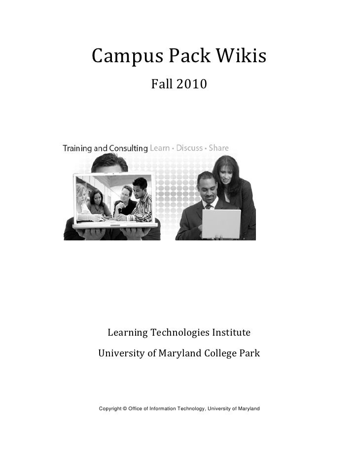 Campus Pack Wikis Handout