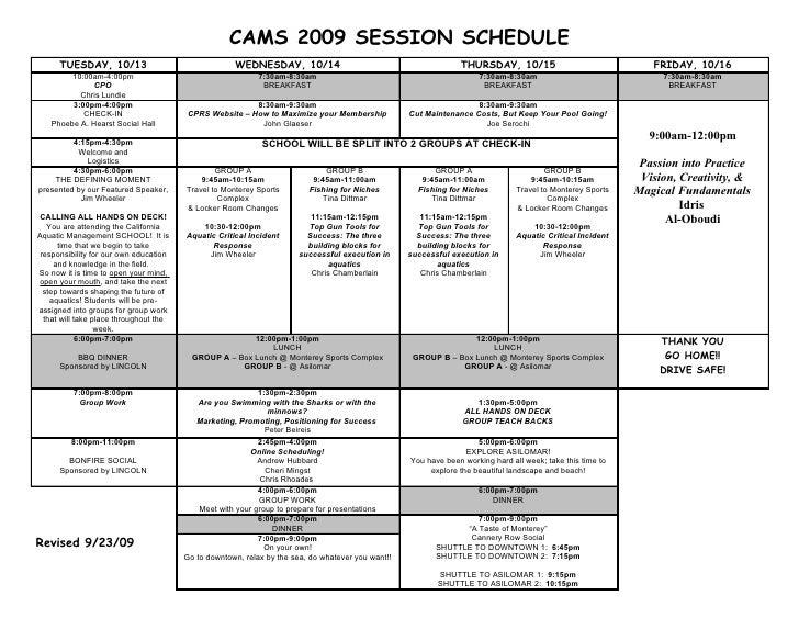 Cams 2009 Session Schedule 9 23 09 ادريس جاسم العبودي
