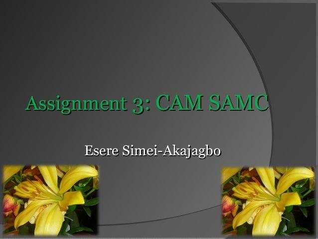 Assignment 3: CAM SAMC Esere Simei-Akajagbo