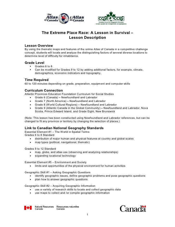 The Extreme Place Race: A Lesson in Survival –                             Lesson Description   Lesson Overview  By using ...