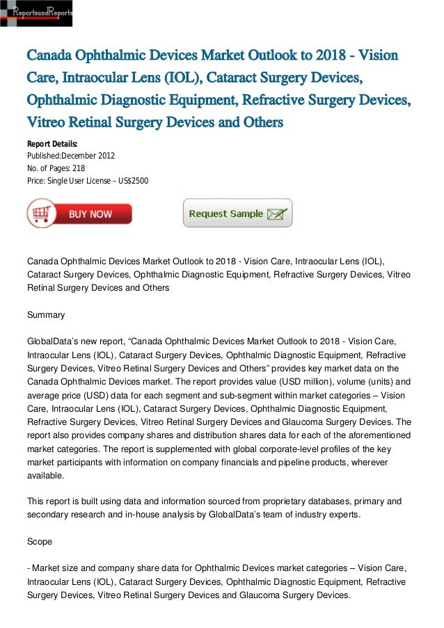 Canada Ophthalmic Devices Market Outlook to 2018 - Vision Care, Intraocular Lens (IOL), Cataract Surgery Devices, Ophthalmic Diagnostic Equipment, Refractive Surgery Devices, Vitreo Retinal Surgery Devices and Others