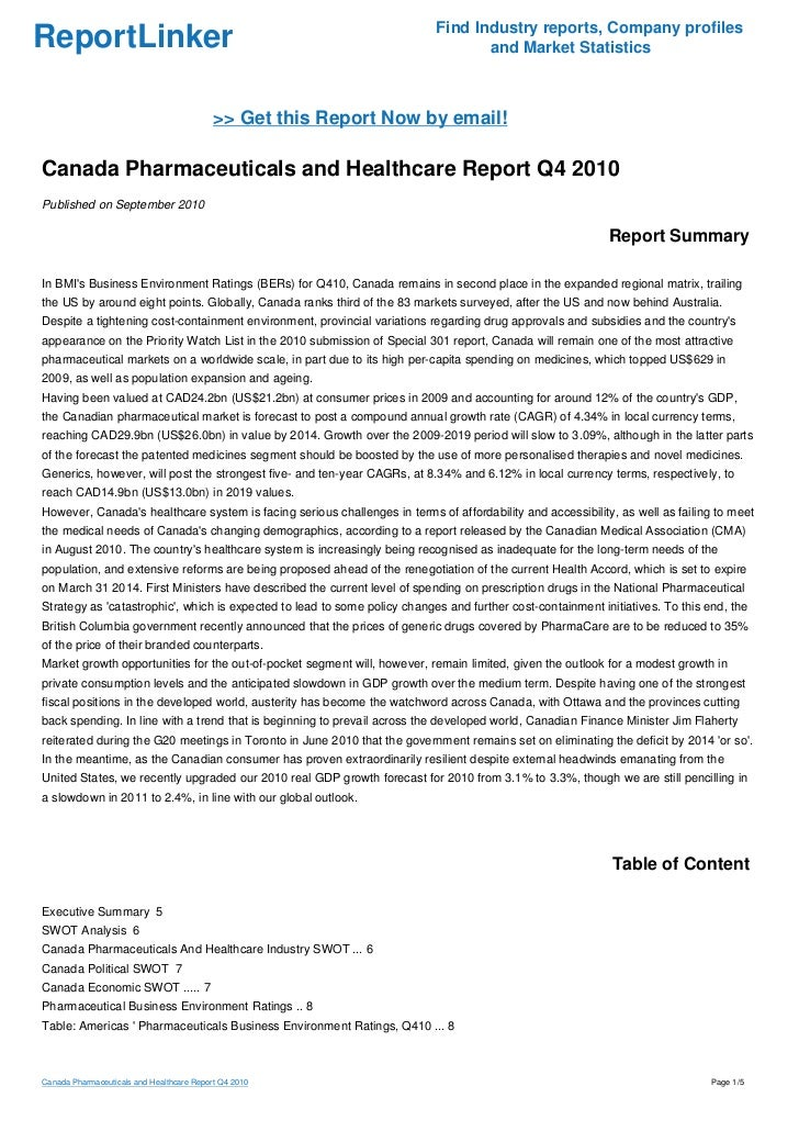 Canada Pharmaceuticals and Healthcare Report Q4 2010