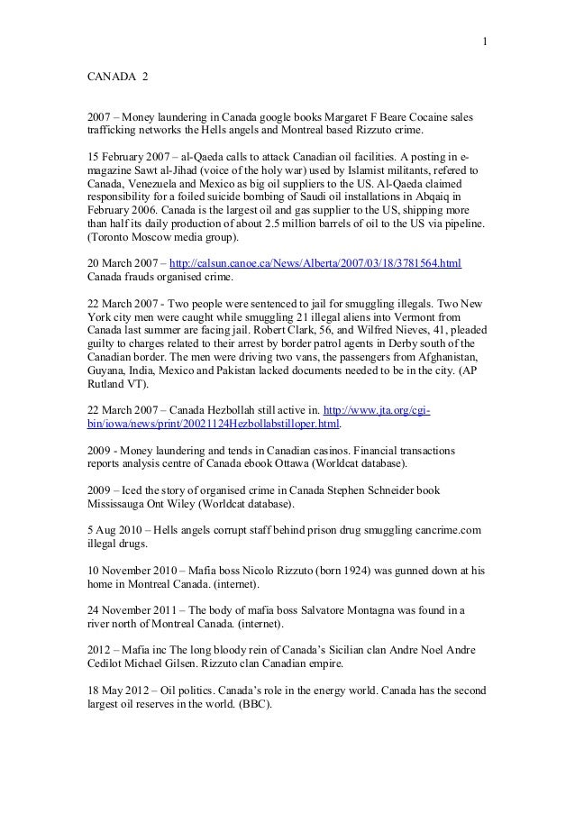 1 CANADA 2 2007 – Money laundering in Canada google books Margaret F Beare Cocaine sales trafficking networks the Hells an...