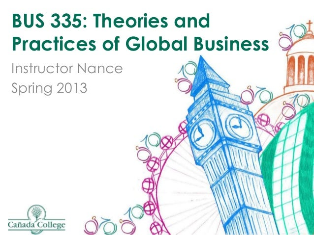 BUS 335: Theories andPractices of Global BusinessInstructor NanceSpring 2013