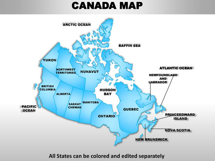 Canada country editable powerpoint maps with states and counties