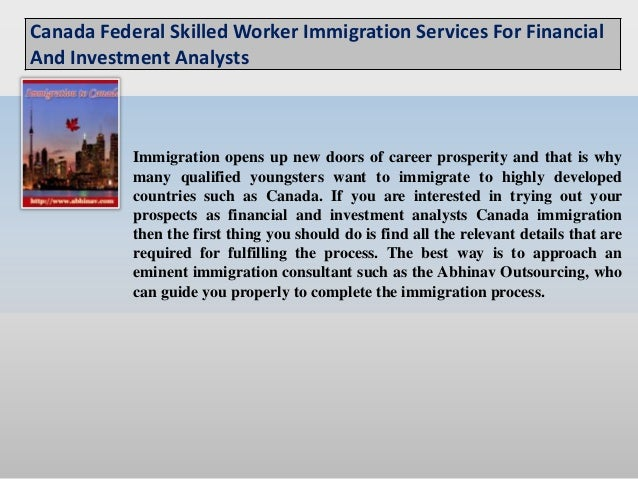 Canada federal skilled worker immigration services for financial and investment analysts
