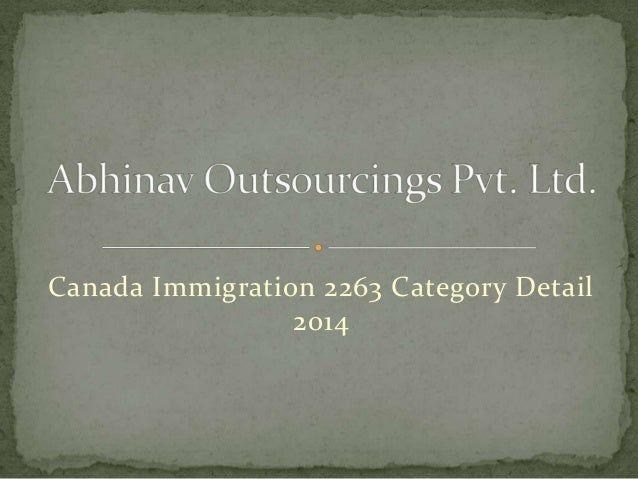 Canada Immigration 2263 Category Detail 2014