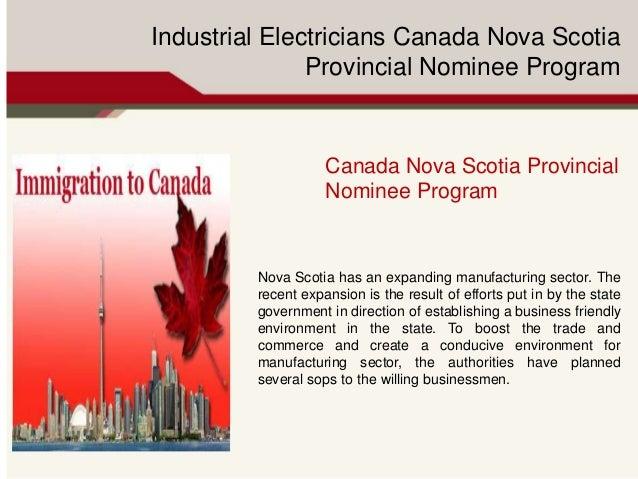 Industrial Electricians Canada Nova Scotia Provincial Nominee Program Canada Nova Scotia Provincial Nominee Program Nova S...
