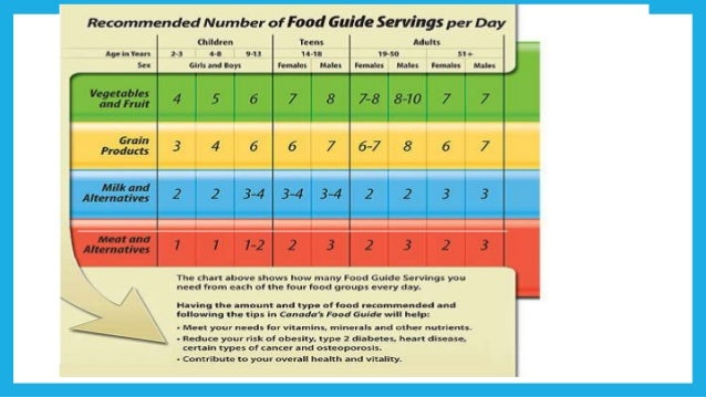 Canada Food Guide Recommended Of Servings Day